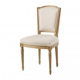 Stuhl mit beigem Baumwollbezug aus Massiveiche Isadora