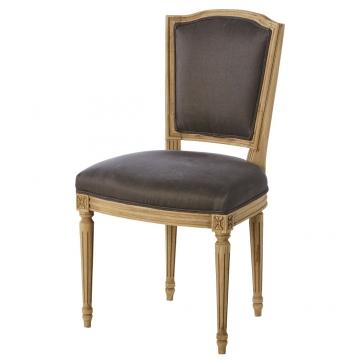 Stuhl mit maulwurfsgrauem Leinenbezug aus Massiveiche Isadora