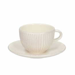 Tasse mit Untertasse Simple Cottage Ecru 270ml, 270ml