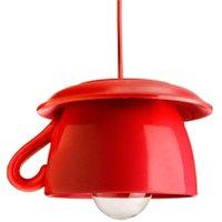 Tazza - rote Keramik-Hängeleuchte für die Küche