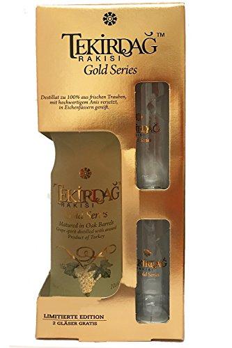 Tekirdag Gold Raki Türkei 0,7 Liter in GP mit 2 Gläsern - 1