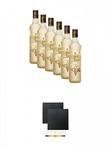 Tekirdag Gold Raki Türkei 6 x 0,7 Liter + Schiefer Glasuntersetzer eckig ca. 9,5 cm Ø 2 Stück -