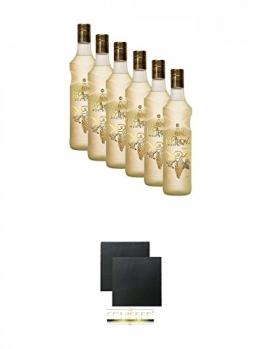 Tekirdag Gold Raki Türkei 6 x 0,7 Liter + Schiefer Glasuntersetzer eckig ca. 9,5 cm Ø 2 Stück - 1