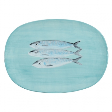 Teller, Fischmotiv, Fayence, 21 x 33 cm MEDITERRANEE