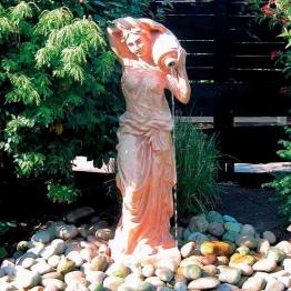 Terracotta Garten-Skulptur & Wasserspiel Athena