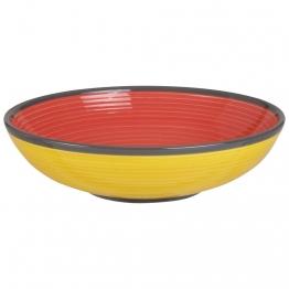 Tiefer Teller aus roter und gelber Fayence