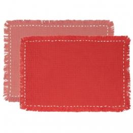 Tischsets aus Baumwolle, terrakotta und rosa (x2)