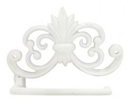 Toilettenpapierhalter WC-Rollenhalter Gusseisen Antik-Stil Weiss