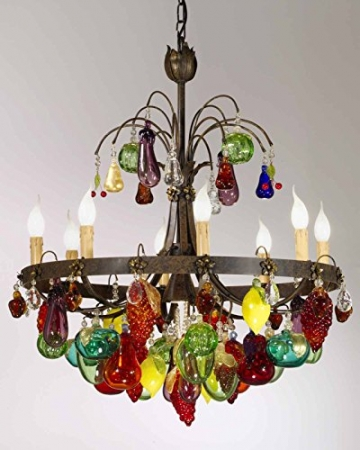 TrediciDesign Murano Glas Kristall Kronleuchter Murano Früchte in Dunkelbraun verwischt auf Schwarzer Farbe - 1