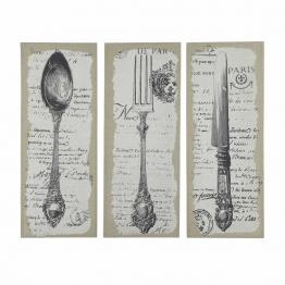Triptychon Besteck aus Holz und Leinen 50 x 130 cm ST FLORENT
