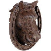 Türklopfer Pferd Nostalgie Hufeisen Gusseisen Antik-Braun 18cm