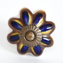 Türknauf ´´Blume´´, blau/braun, Ø 4,5 cm