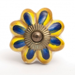 Türknauf ´´Blume´´, blau/gelb, Ø 4 cm