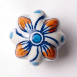 Türknauf ´´Blume´´, blau/orange, Ø 5,5 cm