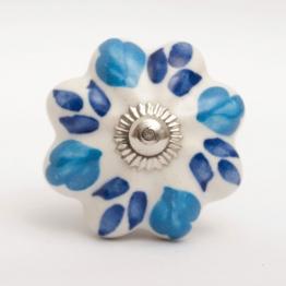 Türknauf ´´Blume´´, blau/weiß, Ø 4 cm