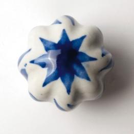 Türknauf ´´Blume´´, blau/weiß, Ø 5,5 cm