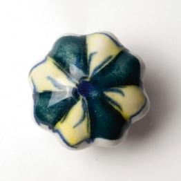Türknauf ´´Blume´´, grün/gelb, Ø 4,5 cm