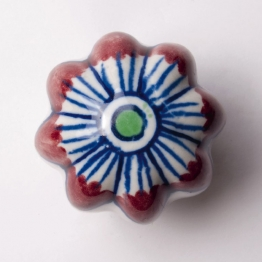 Türknauf ´´Blume´´, rot/blau, Ø 5,5 cm