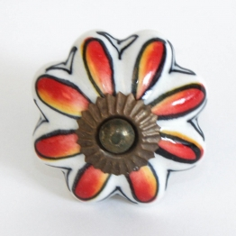 Türknauf ´´Blume´´, rot/weiß, Ø 4,5 cm