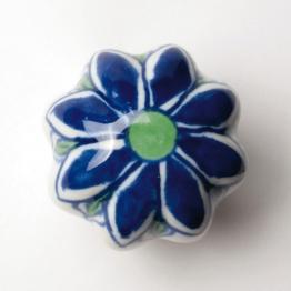 Türknauf ´´Blume´´, weiß/blau, Ø 5,5 cm