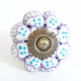 Türknauf ´´Blume´´, weiß/rosa, Ø 4,5 cm