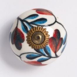 Türknauf rund, blau/rot, Ø 3 cm