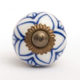 Türknauf rund, blau/weiß, Ø 2,5 cm