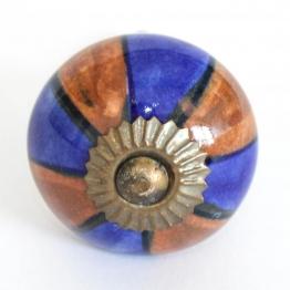 Türknauf rund, braun/blau, Ø 4 cm