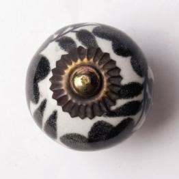 Türknauf rund, schwarz/weiß, Ø 3,5 cm