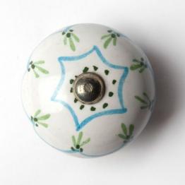 Türknauf rund, weiß/blau, Ø 4 cm
