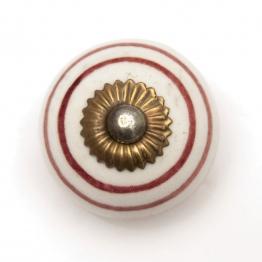 Türknauf rund, weiß/rot, Ø 3,5 cm