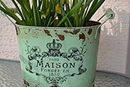 """Übertopf - Pflanztopf , hübschÜbertopf - Pflanztopf , hübscher Zinktopf, Länge 35 cm """"Maison"""" grün-im Landhaus-Shabby Chic-Antik STIL - stabile Ausführung"""