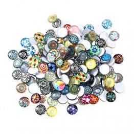 ULTNICE 200pcs Cabochons runde Mosaik Fliesen für Handwerk Glas Mosaik für Schmuck machen - 1