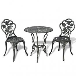 vidaXL 3tlg. Bistro Set Tisch 2 Stühle Essgruppe Sitzgruppe Gartenmöbel Grün Aluguss