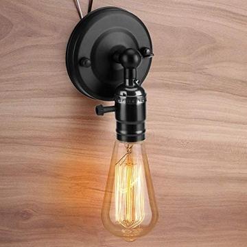 Vintage Light Holder E27 Edison Retro Wandleuchte mit Schalter für den Heimgebrauch und Dekoration 220V Silber(Schwarz) - 6