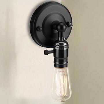 Vintage Light Holder E27 Edison Retro Wandleuchte mit Schalter für den Heimgebrauch und Dekoration 220V Silber(Schwarz) - 8