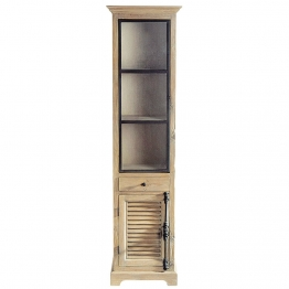 Vitrine aus Recyclingholz, B 52cm Persiennes