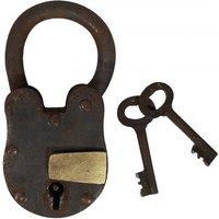 Vorhängeschloss Vintage 2 Schlüssel Nostalgie Eisen Weinkeller Antik-Stil