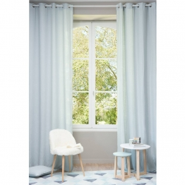 Vorhang aus grobem gletscherblau Leinen mit Ösen, 1 Vorhang 130x300