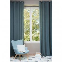 Vorhang aus grobem petrolblau Leinen mit Ösen, 1 Vorhang 130X300