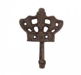 Wandgarderobe Garderobenhaken Krone Gusseisen Antik-Braun 10,5cm