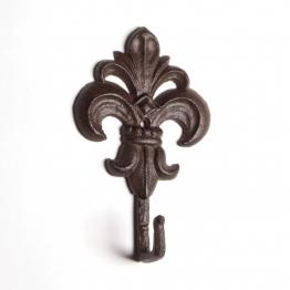 Wandhaken ´´Fleur-de-Lys´´ Modell C, antik-braun, B 10 cm, H 17 cm