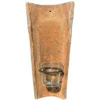 Wandkerzenhalter Echt Antiker Dachziegel mit Glas Windlicht Teelichthalter