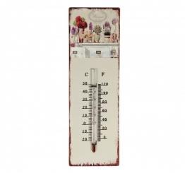 Wandthermometer Provence Blumen Thermometer Vintage Nostalgie Blechschild