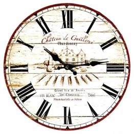 Wanduhr - Chateau Guilleroi Chardonnay - Uhr Nostalgie Antik-Stil 28cm