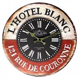 Wanduhr - Hotel Blanc - Uhr Nostalgie Antik-Stil 28cm
