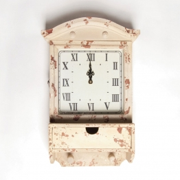 Wanduhr ´´Temple´´ mit einer Schublade, weiß, L 12 cm, B 29 cm, H 44 cm