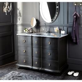 Waschtischmöbel aus schwarzer Mangoholz und Stein Eugenie