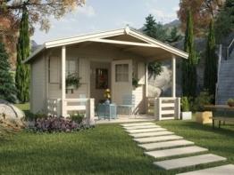 Weka Gartenhaus 138 B, 45mm, mit 200cm Vordach & Terrasse