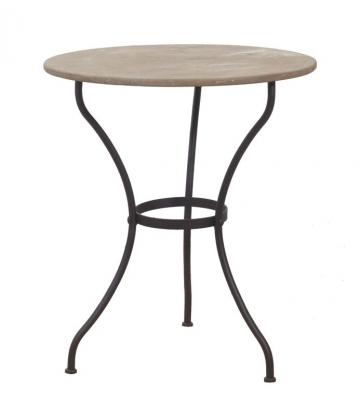wmg gartentisch dublin eisen mit steinplatte rund 80 cm shop ambiente mediterran. Black Bedroom Furniture Sets. Home Design Ideas